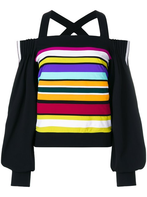 No Ka\' Oi Off-shoulder Striped Sweatshirt - Farfetch