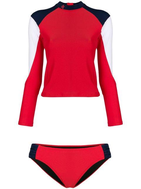 Perfect Moment Color-blocked Rash Guard Bikini - Farfetch