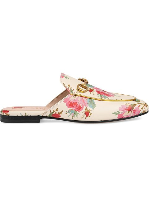 Gucci Princetown Rose Print Leather Slippers - Farfetch
