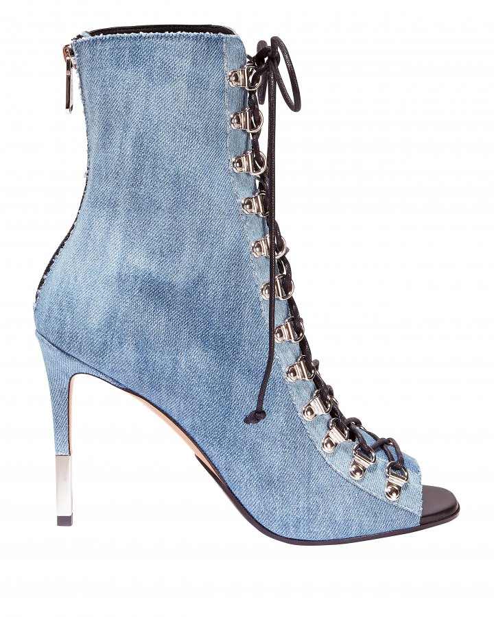 Denim Lace-Up Booties