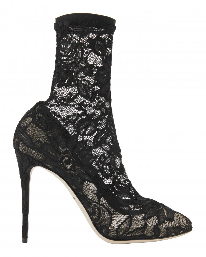 Black Lace Stretch Booties