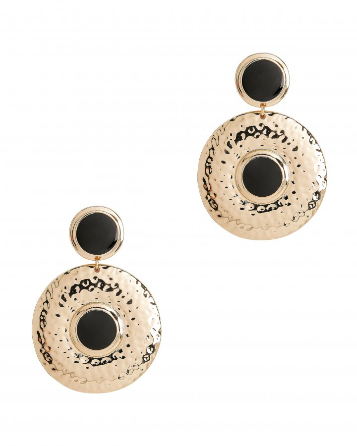 Double Shield Black Earrings