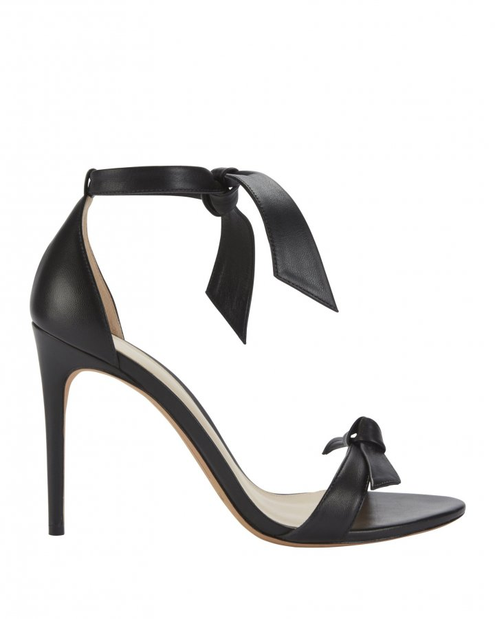Clarita Double Bow Black Leather Sandals