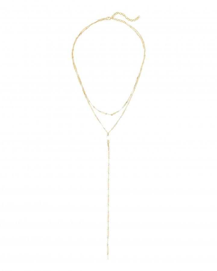 Mirror Bar Layered Lariat Necklace