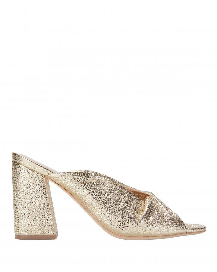 Laurel Crinkle Metallic Gold Sandals