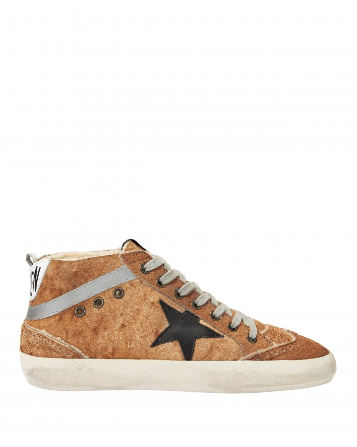 Mid Star Brown Leather And Shearling Sneakers
