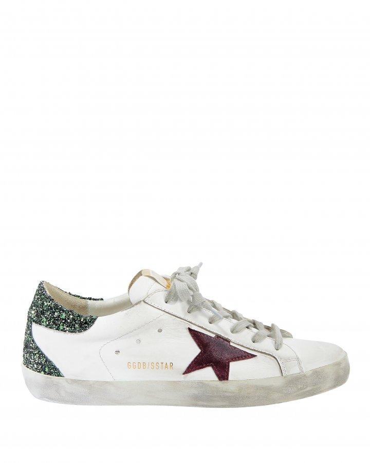 Superstar Green Glitter Back Low-Top Sneakers