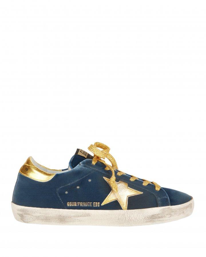 Superstar Blue Velvet Gold Star Sneakers