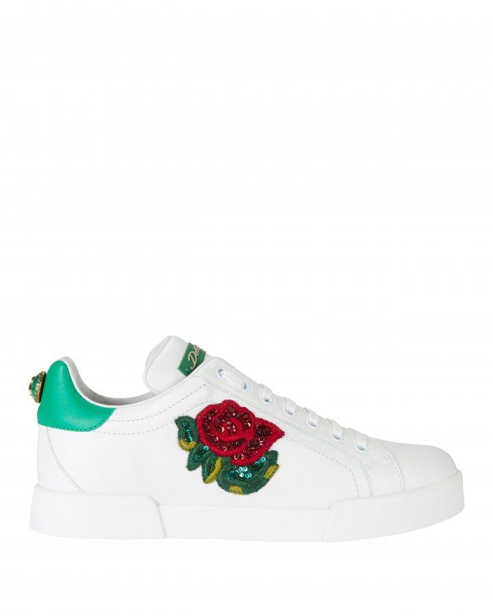 Sequin Floral Low-Top Sneakers