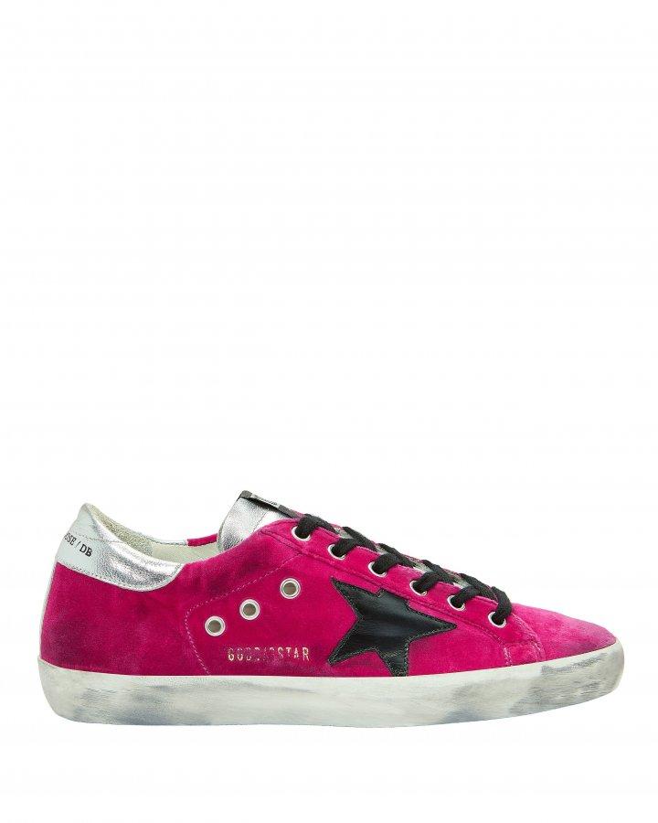 Superstar Pink Velvet Low-Top Sneakers