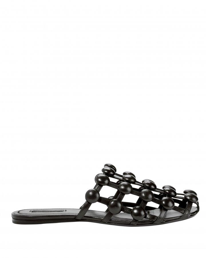 Amelia Leather Stud Slippers