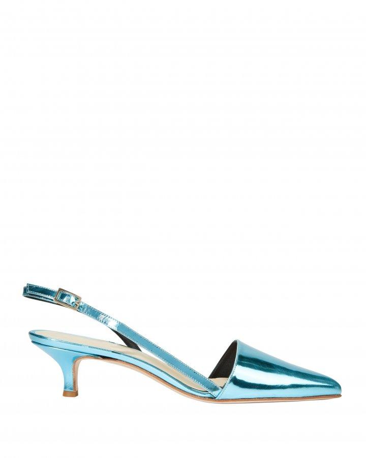 Simon Metallic Blue Slingback Kitten Heels