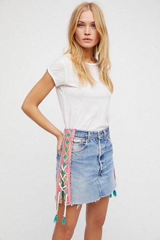 Tricia Fix Lace-Up Denim Skirt