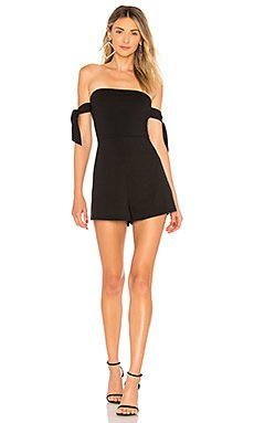 Sandy Off Shoulder Tie Romper                                             About Us