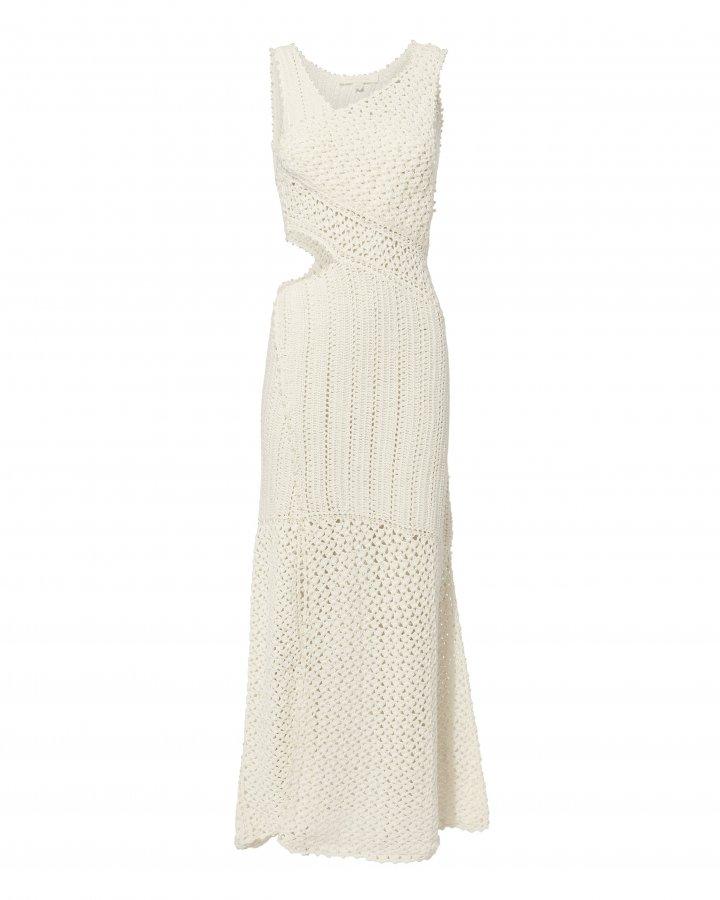 Pearl Embellished Crochet Maxi Dress