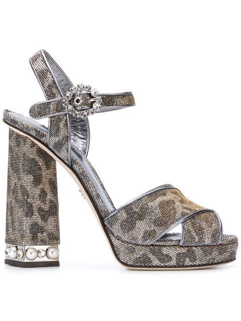Dolce & Gabbana Bejeweled Heel Platform Sandals - Farfetch