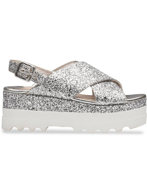 Miu Miu Glittered Platform Sandals - Farfetch