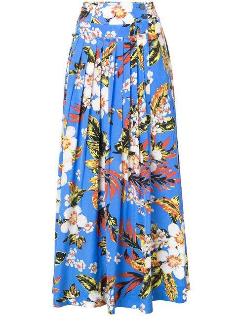 Dvf Diane Von Furstenberg Pleated Floral Skirt  - Farfetch