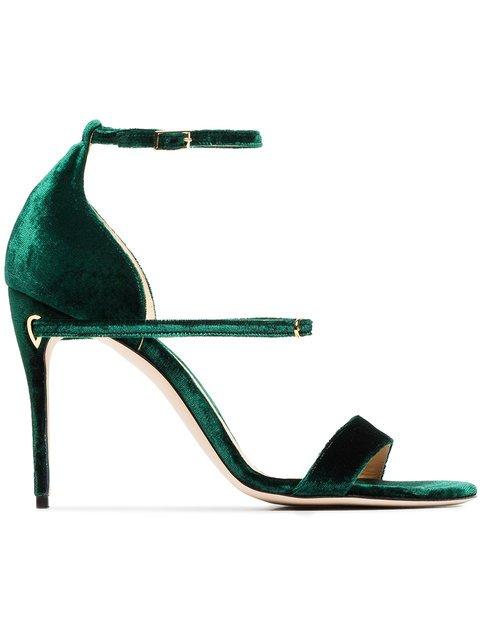 Jennifer Chamandi Emerald Green Rolando 105 Velvet Sandals - Farfetch