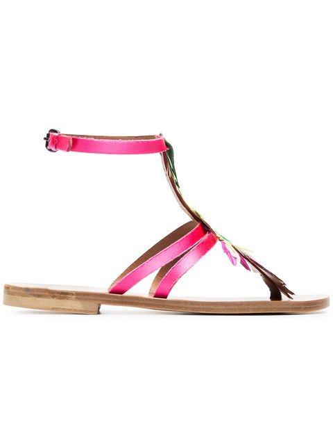 Álvaro Multicoloured Ariana Feather Satin Sandals - Farfetch