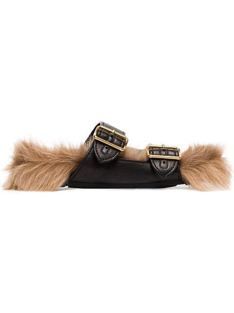 Prada Black Shearling-lined Leather Slide Sandals - Farfetch