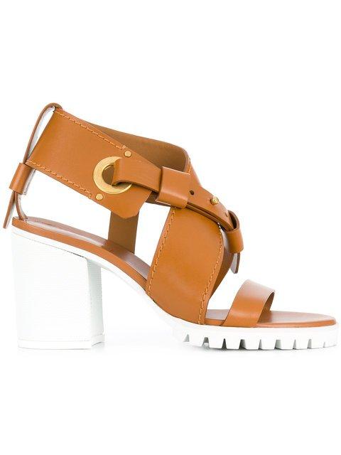 Chloé Strappy Chunky Mid Heel Sandal - Farfetch
