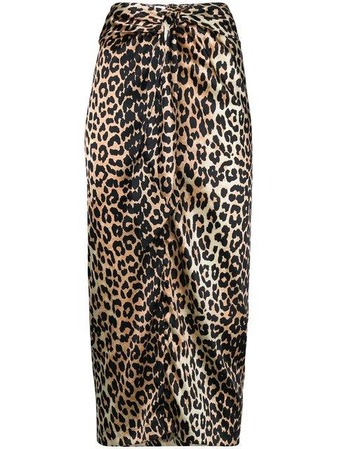 Ganni Leopard Print Bow-detail Skirt - Farfetch