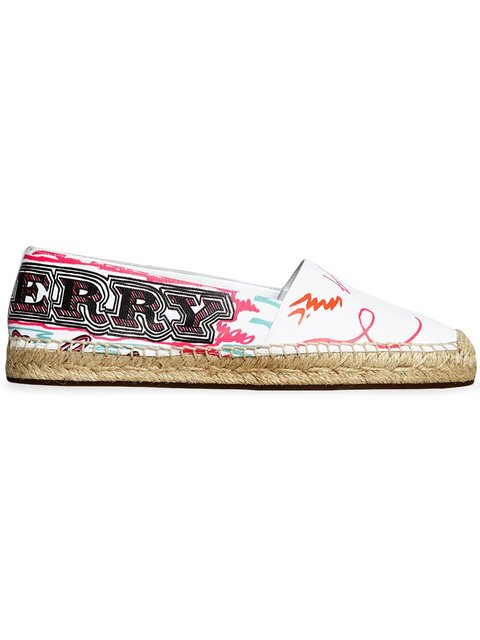 Burberry Doodle Print Coated Cotton Espadrilles - Farfetch