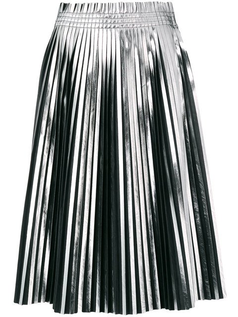 Mm6 Maison Margiela Pleated Metallic Skirt - Farfetch