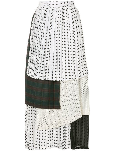 Facetasm Dotted Layered Pleated Skirt  - Farfetch
