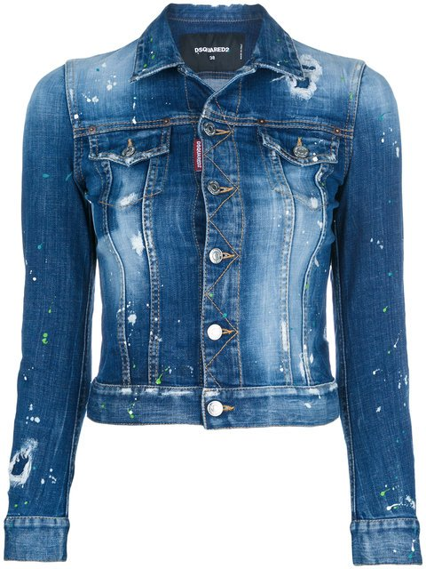 Dsquared2 Distressed Cropped Denim Jacket - Farfetch