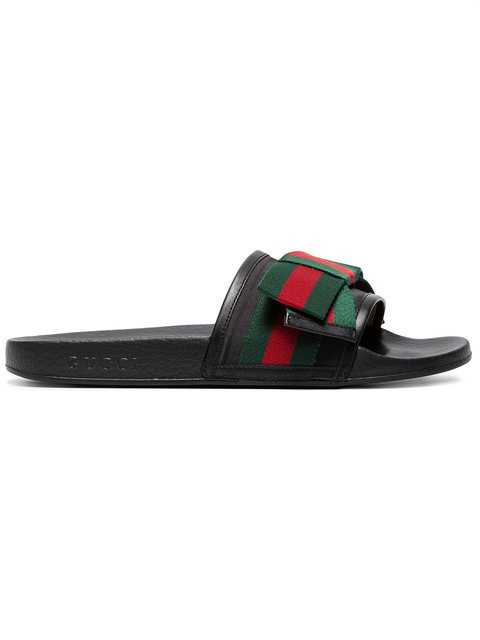 Gucci Black Pursuit Ribbon Bow Slides - Farfetch