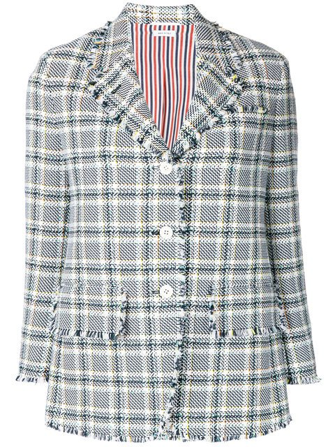 Thom Browne Wide Lapel Single Breasted Sport Coat With Fray In Madras Cotton Tweed - Farfetch
