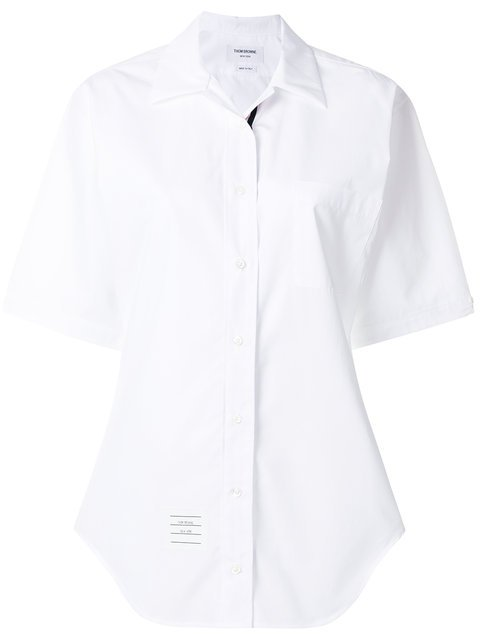 Thom Browne Cuban Polo Collar Blouse With Red, White And Blue Grosgrain Placket In Solid Poplin - Farfetch