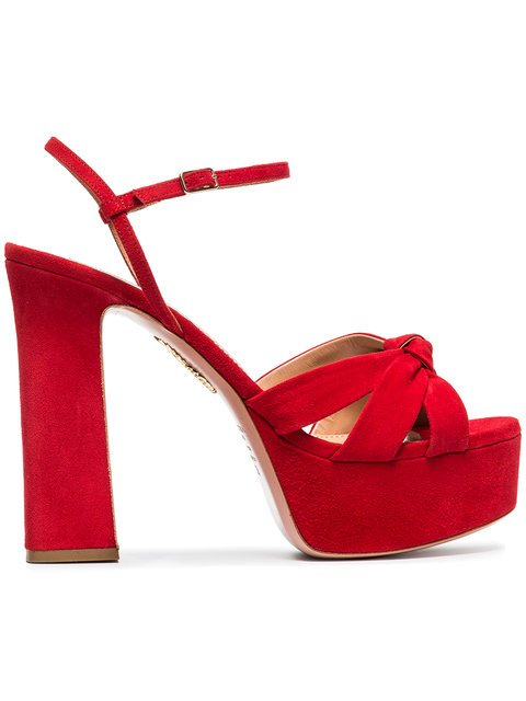 Aquazzura Red Baba Plateau 125 Suede Platform Sandals - Farfetch