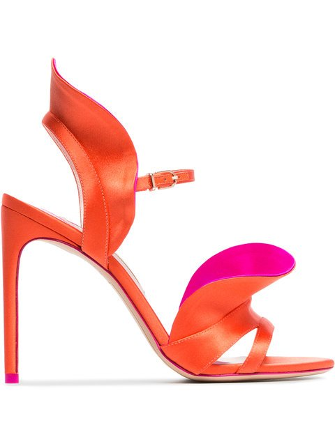 Sophia Webster Orange And Pink Lucia 100 Satin Ruffle Sandals - Farfetch