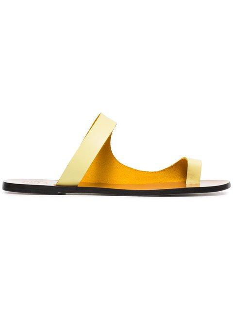 Atp Atelier Lemon Dina Flat Leather Sandals - Farfetch