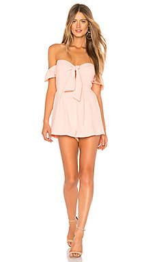 Dayana Tie Front Off Shoulder Romper                                             About Us