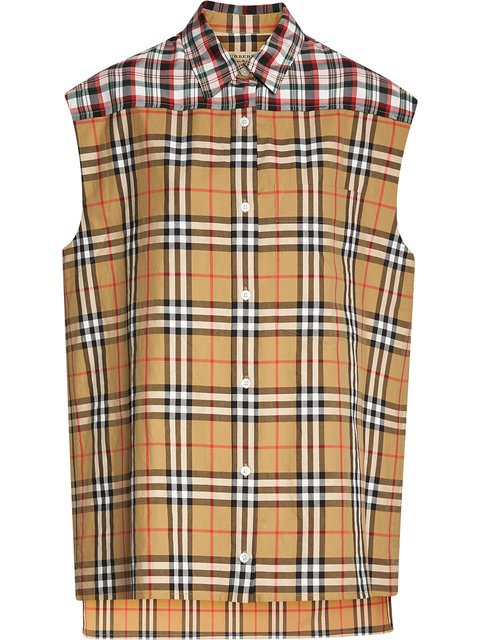 Burberry Contrast Check Sleeveless Shirt - Farfetch