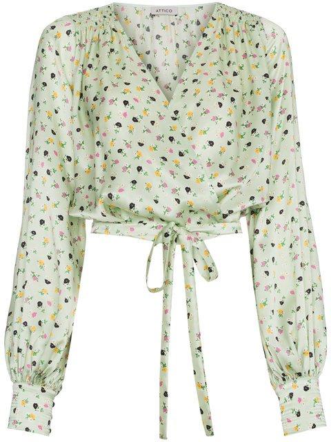 Attico Floral Print Wrap Silk Blouse  - Farfetch