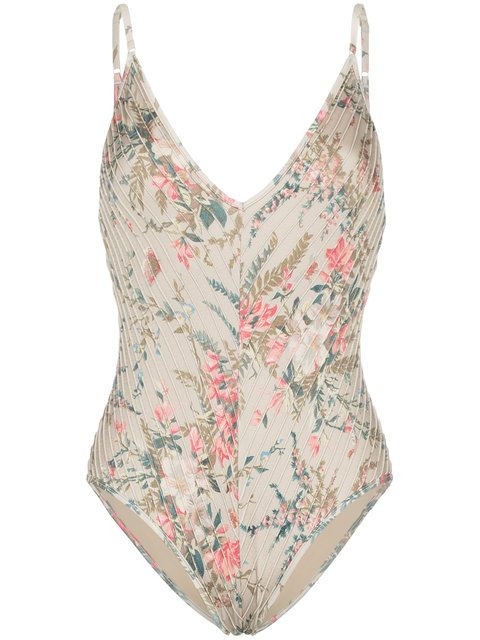 Zimmermann Bayou Pintuck Floral Print Swimsuit - Farfetch