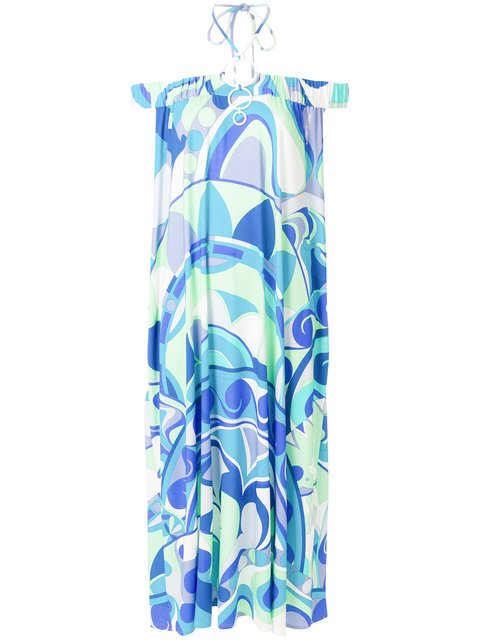 Emilio Pucci Nigeria-print Off-the-shoulder Dress - Farfetch