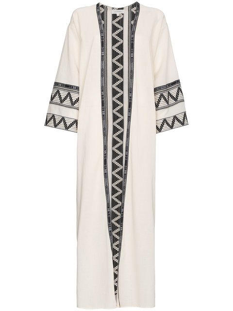Celia Dragouni Zig Zag Embroidered Cotton Kaftan Jacket - Farfetch