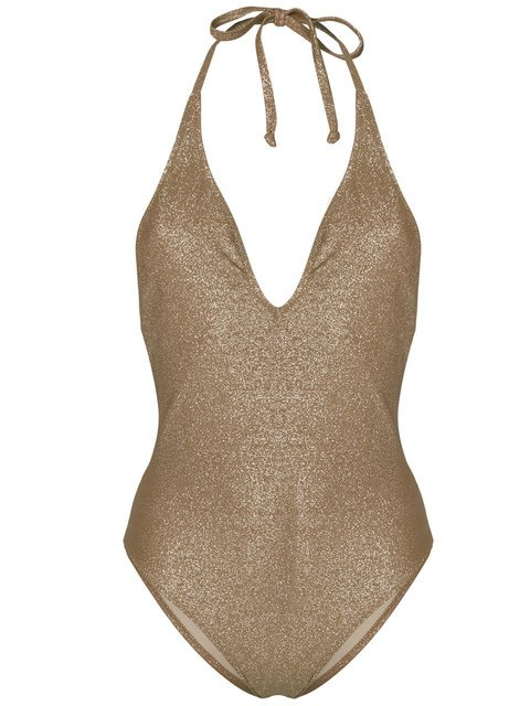 Mimì A La Mer Plunging Neckline Metallic Swimsuit - Farfetch