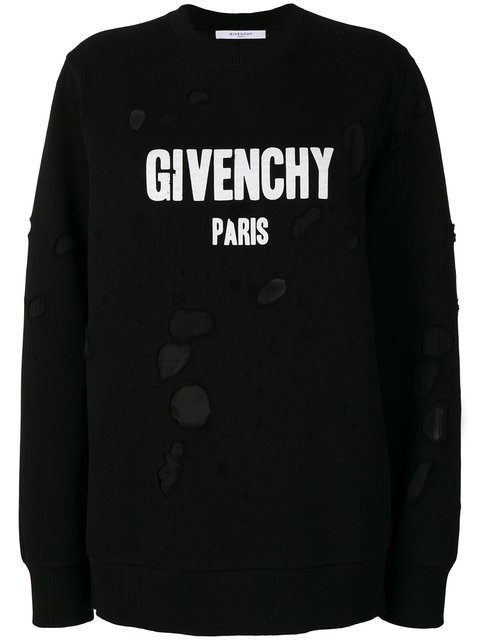 Givenchy Distressed Logo Print Sweatshirt - Farfetch