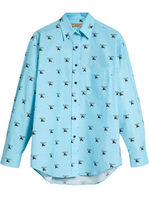 Burberry Logo Print Stretch Cotton Shirt - Farfetch