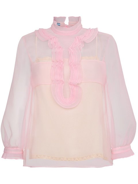 Prada Sheer Top With Ruffles - Farfetch