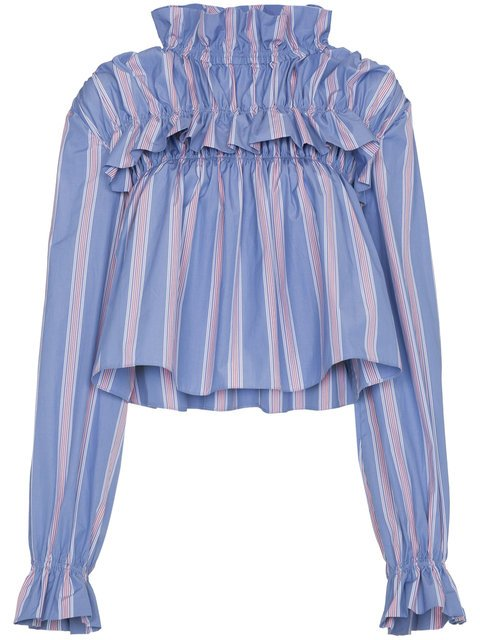 Marni Striped Cropped Blouse - Farfetch
