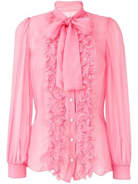 Dolce & Gabbana Ruffle Trim Sheer Blouse With Pussybow - Farfetch