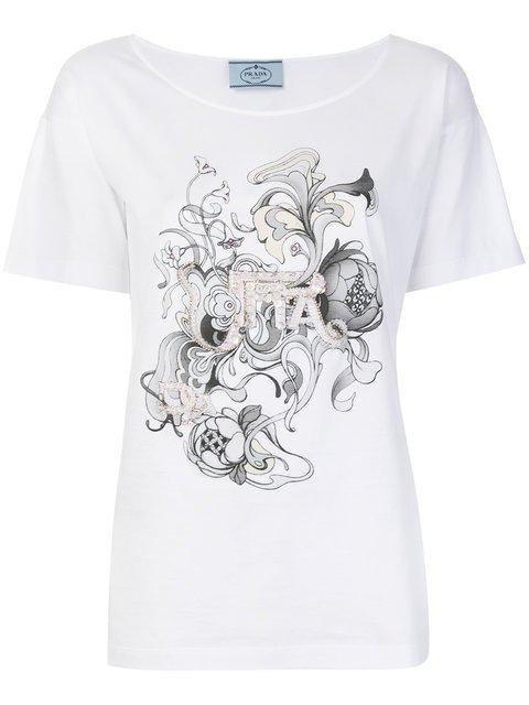 Prada Embellished T-shirt - Farfetch